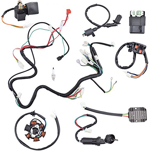 (Minireen Complete Wiring Harness kit Electrics Wire Loom Assembly For GY6 4-Stroke Four wheelers Engine Type 125cc 150cc Pit Bike Scooter ATV Quad)