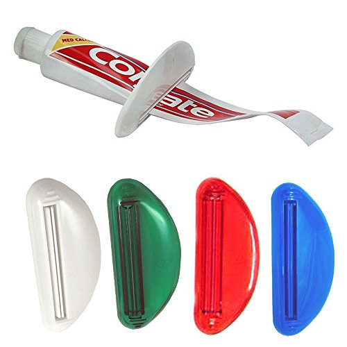 - 4 Ez Plastic Tube Squeezer Toothpaste Dispenser Holder Rolling Bathroom Extract