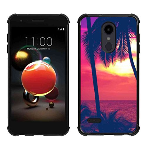 LG Aristo 2 Plus Case,LG Aristo 2/Tribute Dynasty/Zone 4/Fortune 2/Risio 3/Rebel 3 LTE/K8+ K8 Plus Palm at Vivid Sunset Case, ABLOOMBOX Slim Bumper Rubber Protective Case with Reinforced ()