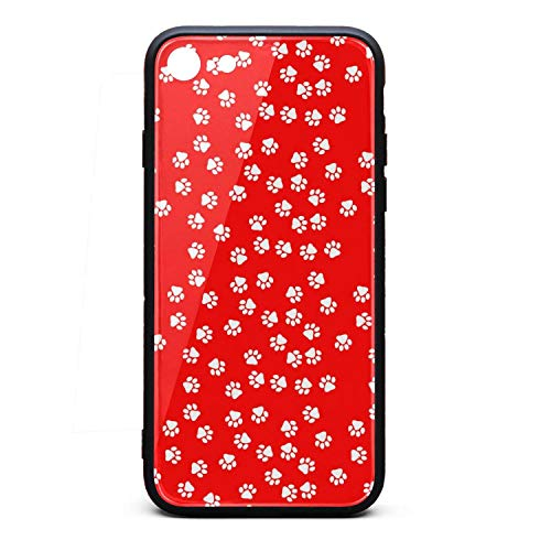 Price comparison product image ZaiyuXio iPhone 6S case,  iPhone 6 Case White Dog Paw Red Background Tempered Glass Back Cover Scratch-Resistant Anti-Slip Soft TPU Frame for iPhone 6S / iPhone 6