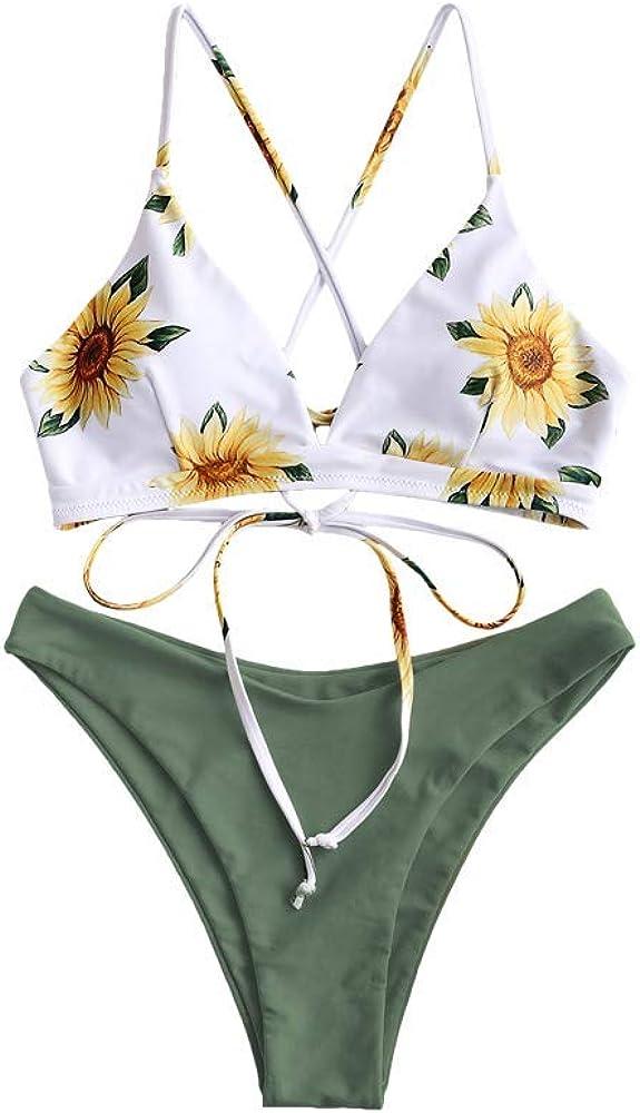 ZAFUL Bikini Set Imbottito con Spalline Incrociate Slip Stampa Floreale per Donna