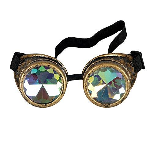 KOLCY Steampunk Goggles Victorian Style Kaleidoscope Glasses Rainbow Prism Lens