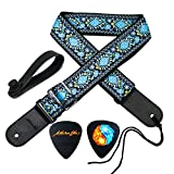 MOREYES Guitar Strap Jacquard Cotton Guitar Strap with Leather Ends Suitable for Bass, Electric & Acoustic Guitars (Blue)