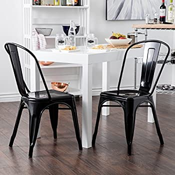 Belleze Set of (4) Vintage Style Dining Side Chairs Steel High Back (Black)