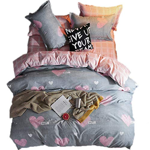 Beddingwish 3Pcs Pink and White Hearts Pattern Duvet Cover (No Comforter),Breathable,Reversible,Polyester Bedding Set Twin for Girls and Kids -Gray,Pink,White -