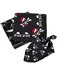 Fun Express Pack 6 Assorted Pirate Theme Polyester Bandannas Party Gifts Favors / Bandana Headbands