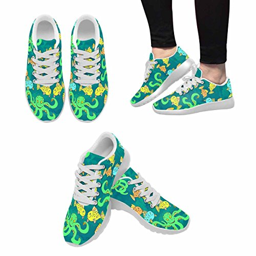 D-story Jogging Running Sneaker Seamless Pattern Octopus And Fishes Womens Casual Comfort Sport Walking Scarpe Da Corsa Bianche