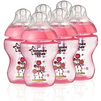 6 x Tommee Tippee Baby Feeding Bottles Closer to Nature 260ml 9oz Decorated Blue