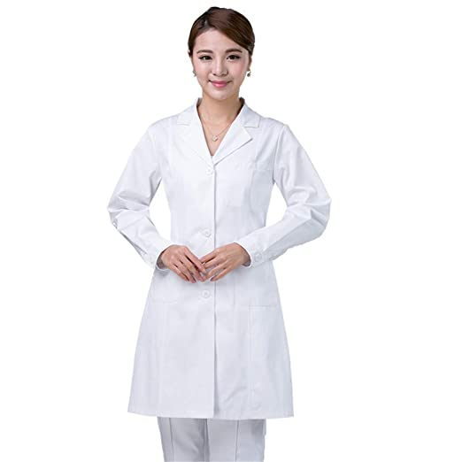 ESENHUANG Ropa Médica Lab Coat Mangas Largas para Mujeres Traje Médico Doctors Under Lab Coat Medical Blusa White Coat: Amazon.es: Ropa y accesorios