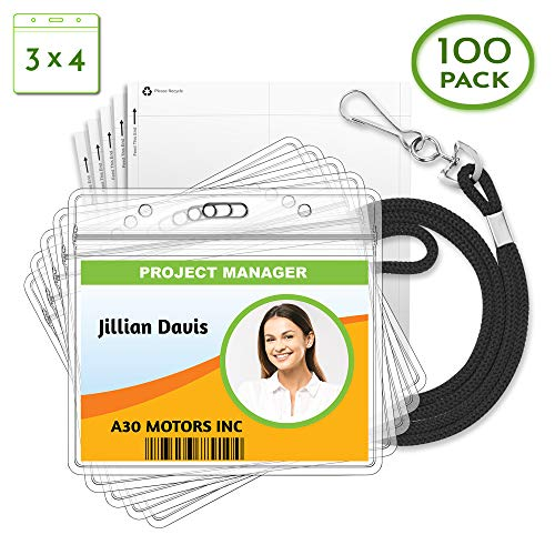 - Claev Large Horizontal ID Holder and Paper Inserts Sets (3 x 4 Inch) with Black Lanyards 3-Piece Kit 100 Pack