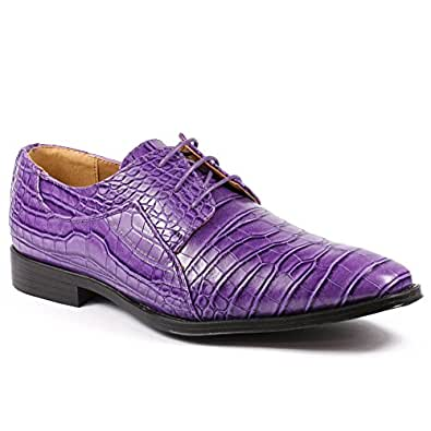 Roberto Chillini RC6563 Men's Purple Exotic Lace Up Dress Oxford Shoes (12)