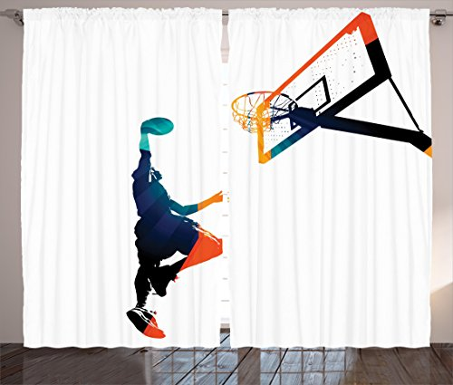 "Ambesonne Sports Curtains, High Contrast Silhouette Artwork of an Athlete Slam Dunking Basketball, Living Room Bedroom Window Drapes 2 Panel Set, 108"" X 90"", Turquoise Orange"
