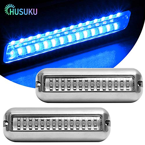 HUSUKU Pair Blue 42LED 1500LM Super Bright IP68 Waterproof SUS316 Stainless Steel Trim Ring Boat High-Intensity LED Underwater Light Fishing Clear Lens Pontoon Marine Boat Transom Drain