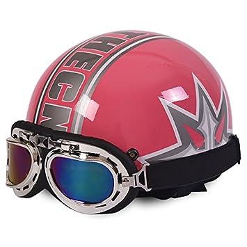 Amazon.es: Rainbow_Road Casco de motocicleta abierto casco Halley casco Crash para moto scooter bicicleta con visera + gafas + bufanda (54 - 59 cm) trébol ...