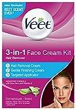 Veet 3-in-1 Face Cream Hair Remover Kit, 3 Piece Kit