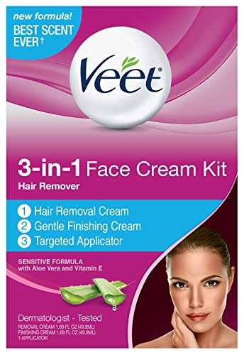 Veet 3-in-1 Face Cream Hair Remover Kit, 3 Piece Kit