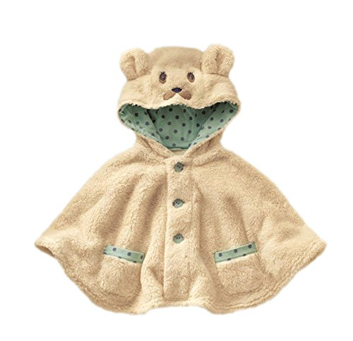 Ameny Toddler Kids Winter Thick Hoodie Cape Coat Fleece Jacket Warm Outfits (Beige) L/Fit 6-24 Months