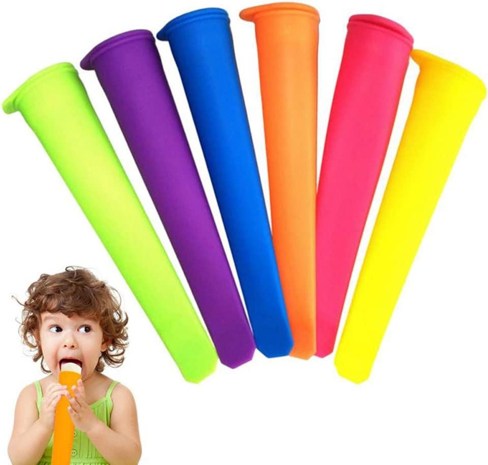 8pc Silicone Popsicle Molds Ice Pop Molds with Lids Multi Colors Silicone Popsicle Molds with Sticks Ice Pop Maker