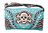 HW Collection Western Studded Rhinestone Skull Crossbody Wristlet Clutch Wallet (Turquoise)