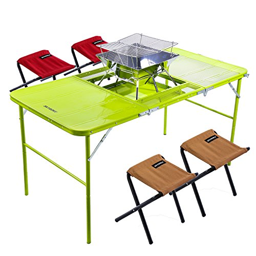 SKYROKU Height Adjustable Aluminum Camping Folding Table and 4 Folding Stools with A BBQ Grill