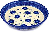 Polmedia Polish Pottery 10-inch Stoneware Fluted Pie Dish H0479C Hand Painted from Cer-Maz in Boleslawiec Poland. Shape S181C(20) Pattern P4849A(D1)