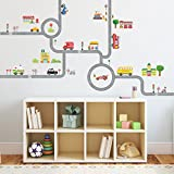 Decowall,DW-1404S,The Road and Cars peel & stick Nursery wall decals stickers (Medium)