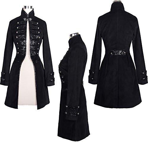 Devil Fashion Punk cotone gotico delle donne del collare del basamento del rivestimento a maniche lunghe Slim-tipo cappotto di trincea lungo 7 formati