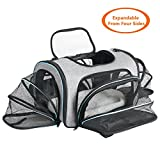 Airline Approved Pet Carrier Expanable- SUKI&SAMI Four Side EXpansion Oxford Portable Sofe-Sided Air Travel Bag for Small or Medium Dog and Cats