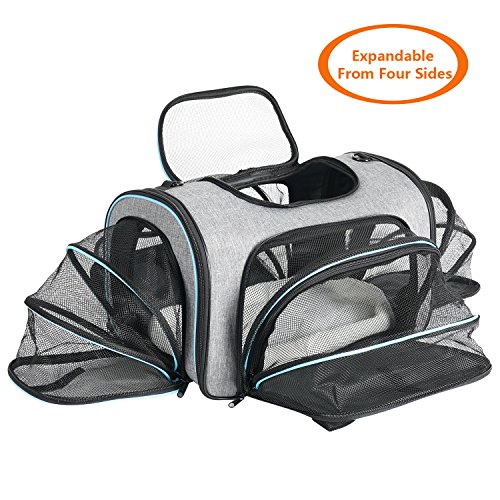 Airline Approved Pet Carrier Expanable- SUKI&SAMI Four Side EXpansion Oxford Portable Sofe-Sided Air Travel Bag for Small or Medium Dog and Cats by SUKI&SAMI (Image #8)