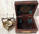 MARINE ART HANDICRAFTS Handmade Brass Box Sundial Compass with Wooden Box. C-3054