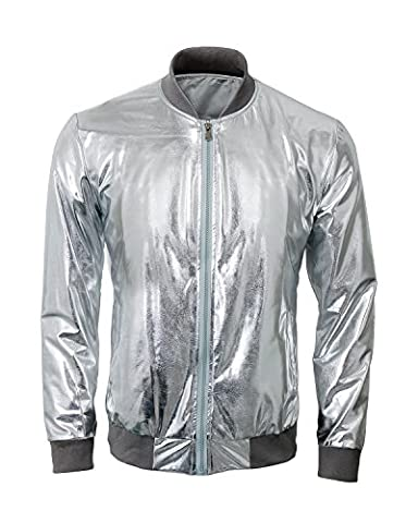 Mens Metallic Nightclub Baseball Varsity Bomber Jacket Shiny Slim Zip Up Stage Performance Costume Suit Outfit (2X-Large, (Mens Metallic Silver Jacket)