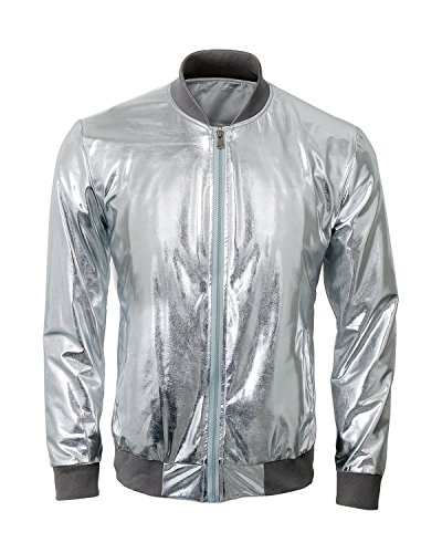 Mens Metallic Nightclub Baseball Varsity Bomber Jacket Shiny Slim Zip Up Stage Performance Costume Suit Outfit (Small, Silver)