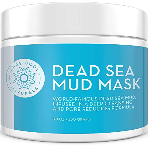 NEW Premium Dead Sea Mud Mask for Face and Body, Purifying Face Mask for Acne, Blackheads, and Oily Skin by Pure Body Naturals, 8.8 Ounce (Calcium Bentonite Clay Vs Sodium Bentonite Clay)