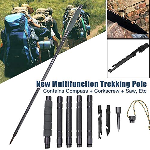 Ningc Multifunctional Trekking Pole Aluminum Folding Ultralight Quick Lock Trekking Poles Hiking Pole Outdoor Stick…