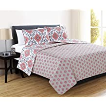 Sasha Collection 3-Piece Luxury Quilt Set with Shams. Soft All-Season Microfiber Bedspread and Coverlet with Unique Pattern. By Home Fashion Designs Brand. (Twin, Burnt Coral)