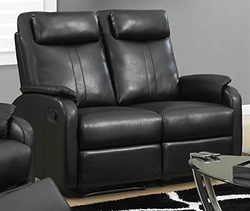 Monarch Specialties I 81Bk 2 Black Bonded Leather Reclining Love Seat in