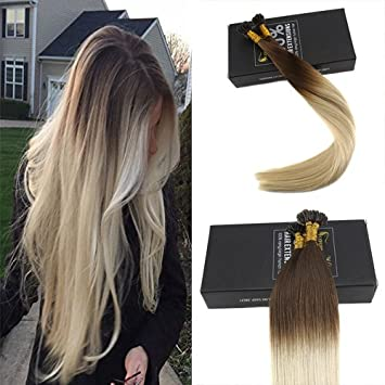 Amazon sunny 14inch ombre u tip hair extensions real human sunny 14inch ombre u tip hair extensions real human hair chocolate brown to bleached blonde 50g pmusecretfo Images