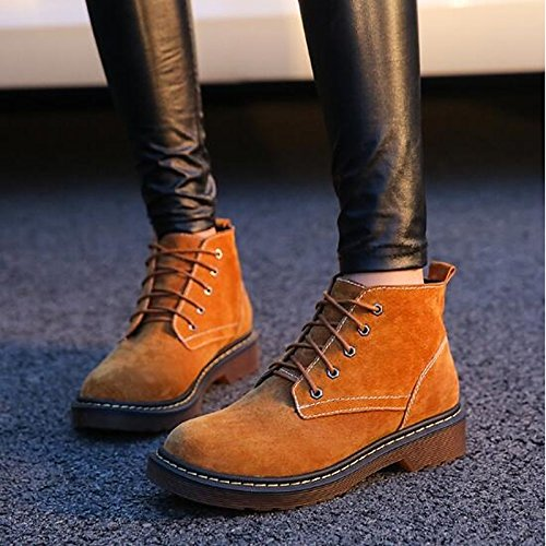 Heel Casual Nubuck Toe Ankle Blue Black HSXZ Round Boots for Yellow Boots Women's Gray leather Winter Booties ZHZNVX Fall Fashion Flat Boots Yellow Shoes qPtO4nU