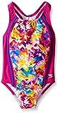 Speedo Big Girls Tie Dye Splash Sport Splice 1 Piece, New Blush, 8