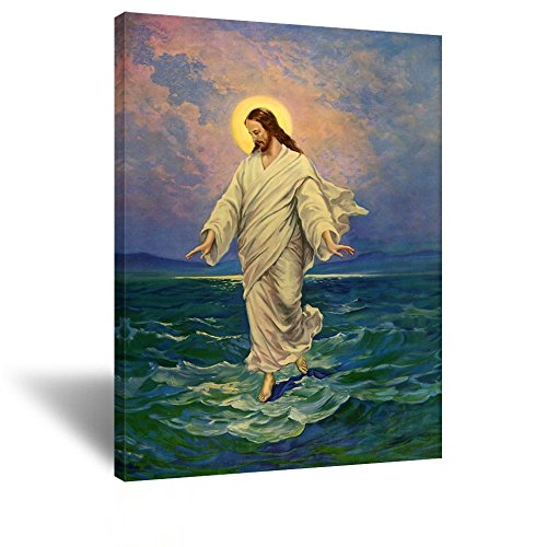 Kreative Arts - Jesus Christ Walking on Water Moonlight Religious Wall Picture Art Print on Canvas Ready to Hang 24''x32''