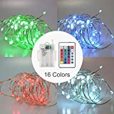 Rulaii Outdoor Fairy String Lights Battery Powered IP67 Waterproof Timer Remote Control Dimmable 16ft 50 LEDs Multi Colors Changing Copper Wire for Party Christmas Tree Decorative