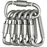 Outmate 6 pcs Aluminum D-Ring Locking Carabiner Light but Strong