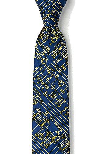 Men's Hipster Transistor Radio Schematics Retro Skinny Narrow Tie Necktie (Navy Blue) 2.25'' x 58.0''