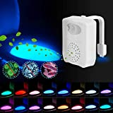 SUNNEST Toilet Night Light UV 16 Colors with 2pcs Aromatherapy, Motion Activated Toilet Light, Color Changing LED Toilet Light Toilet Bowl Light, Perfect for Bathroom Decoration (White-Multicolor)