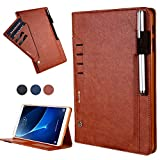 Samsung Galaxy Tab A 10.1 Cover,Book Style Durable Cover with Card Slot and Pencil Holder, Premium PU Leather Smart Folio Case for Samsung Galaxy Tab A 10.1(T580/T585/P580)-Brown