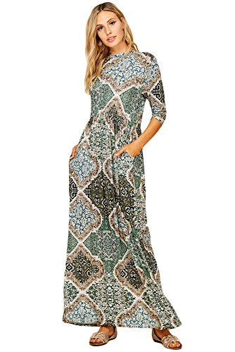 Annabelle Women's Long Sleeve Long Maxi Dresses With Side Pockets Tribal Print Olive Plus Size X-Large (Plus Size Tribal Dress)