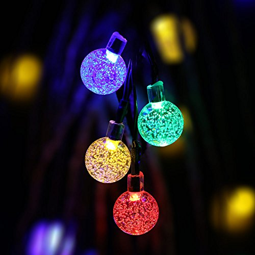 Qedertek Globe Solar String Lights, 19.7ft 30 LED Fairy
