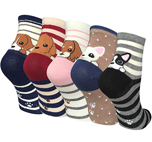 Chalier 5 Pairs Womens Cute Animal Socks Casual Cotton Crew