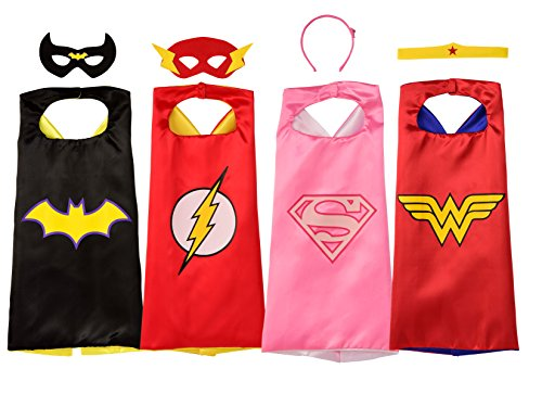 Rubie's Super Hero Cape Set Officially licensed DC Comics Assortment  4 Capes, 2 Masks, and 2 Headbands, One Size (Amazon -