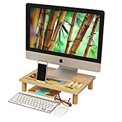 Adorn Home Essentials Adjustable Height Natural Bamboo Wood Monitor Riser Desktop, Laptop, Computer Stand With Multiple Storage Organization Slots For Tablet, Phone, Sticky Notes, Etc. 16'' X 12''